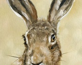 Aceo Print, Wild Hare. From an Original Painting by Award Winning Artist JOHN SILVER. Personally signed. HA004AC