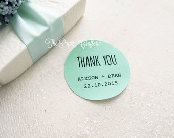 Personalised Thank You Stickers Names & Wedding Date Mint Green Round