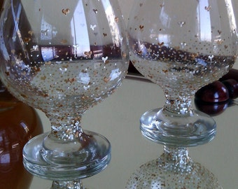 Set of 2 hand painted brandy glasses Valentine's day
