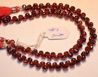 2 Strands AAA 8 Inch Strand 5-6mm Natural Mozambique Red Garnet Microfaceted Onion Briolette Beads-62 Beads Apx/Strand(#7)