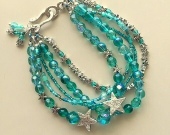 Multistrand Turquoise Crystal and Silver Stars Bracelet