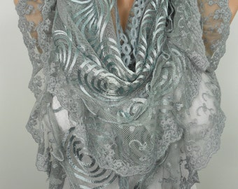 Valentines Gift Scarf Women Gray Lace Scarf Tulle Scarf Gray Wedding Fall Winter Spring Summer Women Fashion Accessories Christmas Mothers D