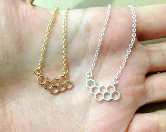 ON SALE! Honeycomb necklace. unique necklace. cute necklace. dainty jewelry. simple gift. Valentines day gift