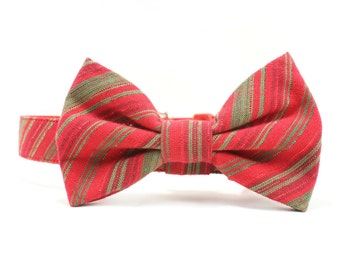 Christmas Dog Bow Tie Collar Red Striped Dog Collar Bow Tie Holiday Green Shimmery Dog Bowtie