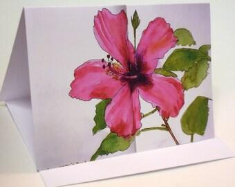 Pink Hibiscus Greetings Card