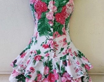 Vintage 80's 90's Rampage PINK FLORAL Ruffle Tier Mini Dress XS