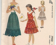 Vintage 1949 McCall 7932 Sewing Pattern, Girls' Ruffled Jumper or Skirt, Size 8