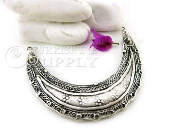 Large Crescent Collar Pendant, Necklace Bar, Antique Silver Plated Metal Collar Pendant, Turkish Jewelry Findings