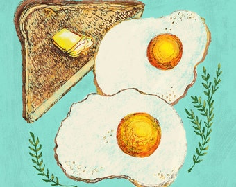 Eggs & Toast Art Print, 8 x 10, Illustration, Ink Drawing, Kitchen Art