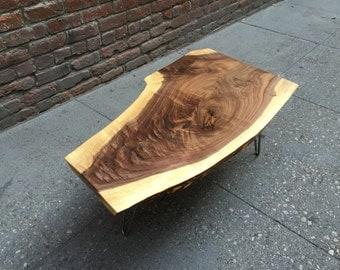 SOLD - Amazing Black Walnut Live Edge Coffee Table