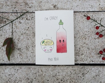 """Watercolor card """"I'm crazy pho you"""""""