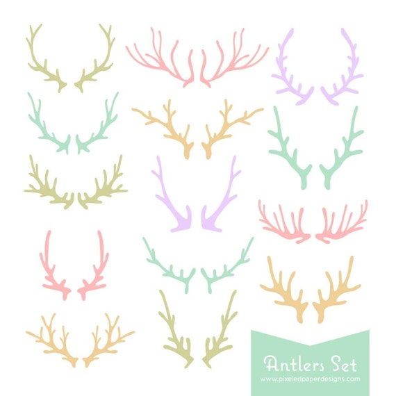 Antlers Digital Clipart -  Pastel Colored Antler Graphics for Wedding Invites, Photography, DIY | Commercial License Available