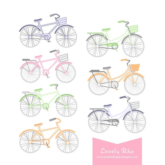 Pastel Bike Digital Clipart. Bike Graphics for Wedding Invites, Photography, DIY | Commercial License Available
