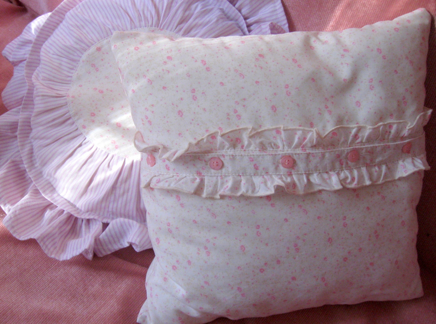 Shabby Chic Pillow cover Ruffle pink pillow Floral Cottage