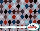 ARGYLE Fabric by the Yard, Fat Quarter SEAFOAM GRAY & Navy Fabric Diamond Fabric Quilting Fabric Apparel Fabric 100% Cotton Fabric a4-34