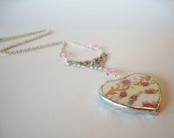 Broken China necklace, Broken china heart Pendant,