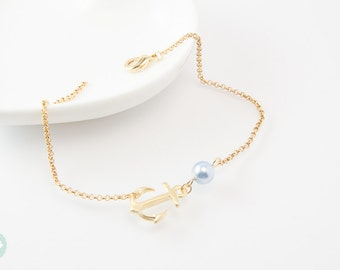 Anchor bracelet, gold bracelet, pearl bracelet, charm bracelet, anchor bracelet, chain bracelet, cute bracelet, friendship bracelet