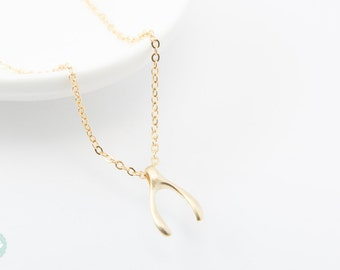 Wishbone necklace, wishbone charm, cute charm necklace, gold charm necklace, gold necklace,cute necklace, dainty necklace