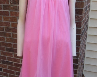 Bubble Gum Pink Negligee -Size 36 -Baby Doll Style Lingerie -Double Layer Chiffon - Vintage Sleeveless Night Gown- Honeymoon -Trousseau