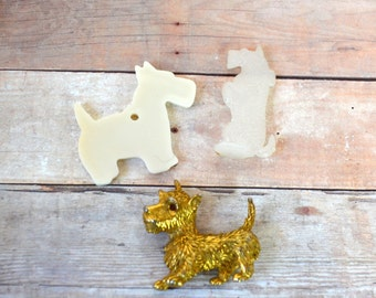 Lot of 3 Scottie dog craft items; metal and plastic