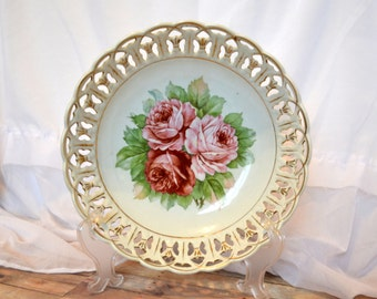 Beautiful shabby chic pink rose fruit bowl with woven edges; RW Bavaria