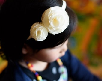 antique white flowers headband  - you choose color hairband