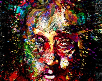 John Lennon Art, Beatles Painting, Original Art Print