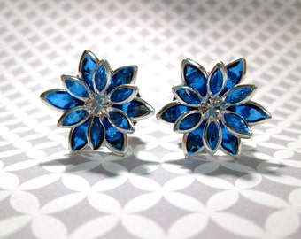 Sparkle Blue Daisy Flower Plugs - Available in  00g, 7/16 in, 1/2 in, 9/16 in, and 5/8 in