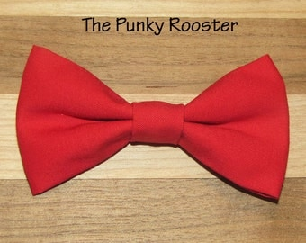 Solid Red Bow Tie, Clip on Bow Tie, Boys Bow Tie