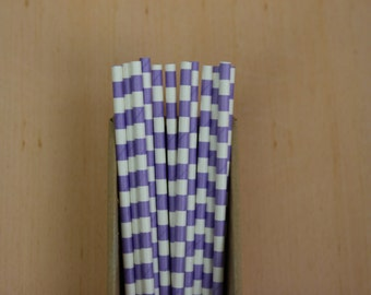 25 lilac sailor striped straws (PS0116)  - lavender party straws