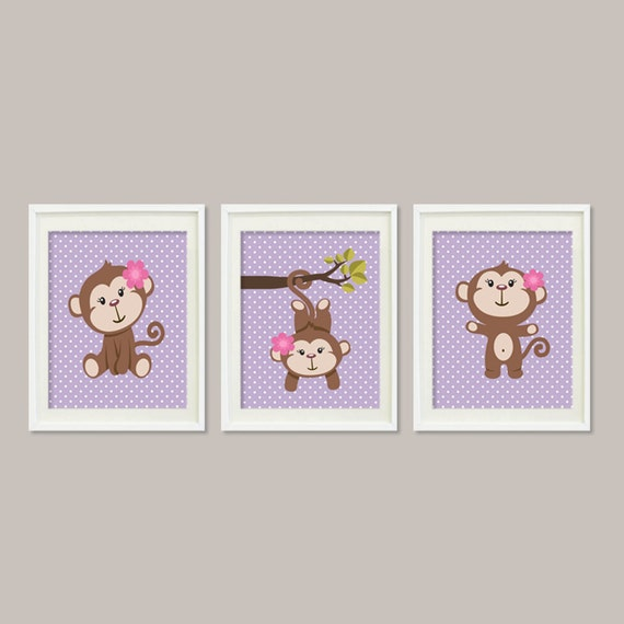 Girl Monkey Nursery Wall Decor : Items similar to girl monkey nursery art baby