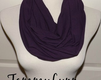 Purple Eggplant Solid Cotton Spandex Infinity Scarf Cotton Jersey Knit Women's Accessories
