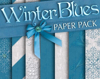 Winter Blues Digital Papers: Printable Scrapbook, Christmas Holiday Papers, Snowflakes - Instant Download