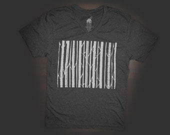T Shirt Urban V Neck Tree Barcode in Black