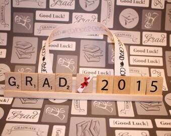 Grad 2016 (Customize Yr), Graduation Decor, Graduation Party, Scrabble tile, College Graduation, Senior, Class Of, Graduation Gift, Hats off