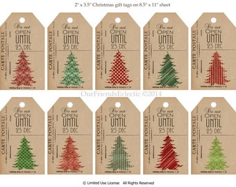 Printable Christmas tags, digital christmas tags, vintage postcard tags, christmas tree tags, collage sheet, you print