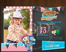 Sheriff Callie Invitation, Cowgirl Invitation, Pink and Blue Chalk Board - Style 6- With Photo -YOU PRINT