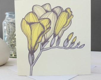 Mia Floral Card , Greetings Card, Blank Card, Stationery, Paper Goods