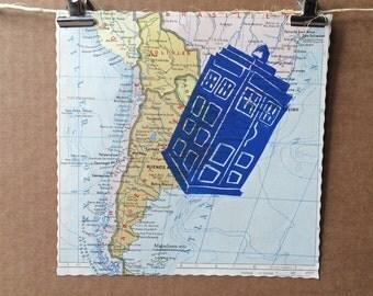 TARDIS | Doctor Who | vintage world map | linocut