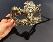 Gold Masquerade Mask, Masquerade Mask, Brocade Lace Mask, Black and Gold Mask with Jewels