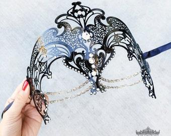 Masquerade Mask, Black Masquerade Mask,  Masquerade Ball Mask, Venetian Mask w Exquisite Rhinestones and Layered Jewelry [Clear Rhinestones]