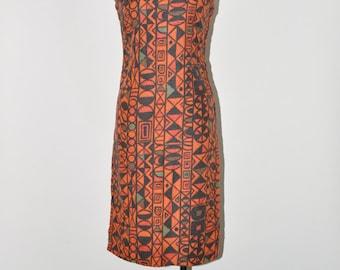 60s tribal linen dress / orange sleeveless dress / fitted geometric print dress