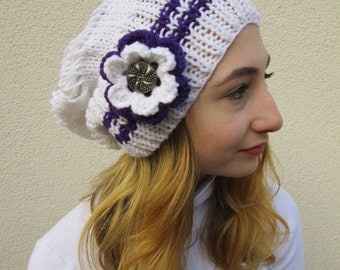 Slouchy Hat, Womens Hat, Hand Knit, Slouch Beanie, White and Purple, Deductible Crochet Flower With Button