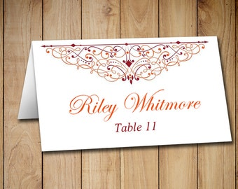 diy wedding place card template tent printable escort card template catalina burgundy red. Black Bedroom Furniture Sets. Home Design Ideas