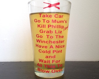 zombie plan pint glass