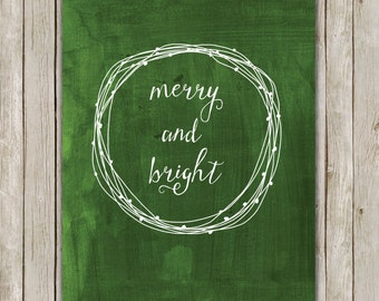 8x10 Christmas Printable Decor, Merry and Bright, Typography Print, Digital Green Holiday Decor, Wreath Holiday Wall Art, Instant Download