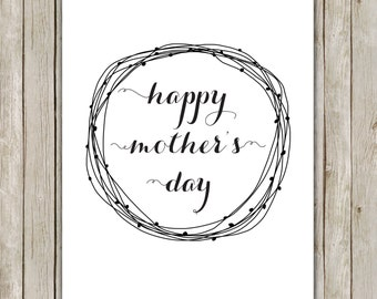 8x10 Happy Mother's Day Printable, Typography Art Poster, Typography Print, Wreath Art Poster, Holiday Wall Art Decor, Instant Download