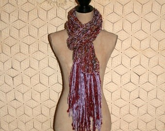 Chunky Knit Scarf Handmade Red Purple Winter Scarf Fringe Chunky Scarf Knit Women Scarves Long Scarf Hand Knit Accessories Gift Idea for Her