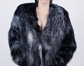 Spray Painted Squiggle Chrome and Black Fur Jacket AW14