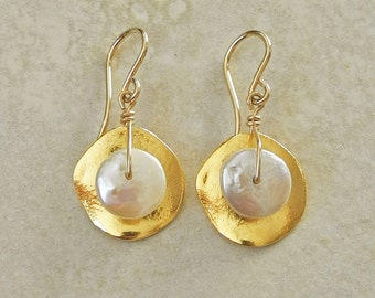 Gold Earrings with White Pearl - White Pearl and Gold Earrings - Unusual Gold Earrings - Gold and Pearl Earrings - Roca Jewelry Designs